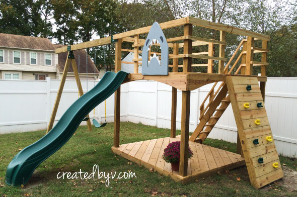 Diy outdoor playset materials tools list created by v for Playground building plans