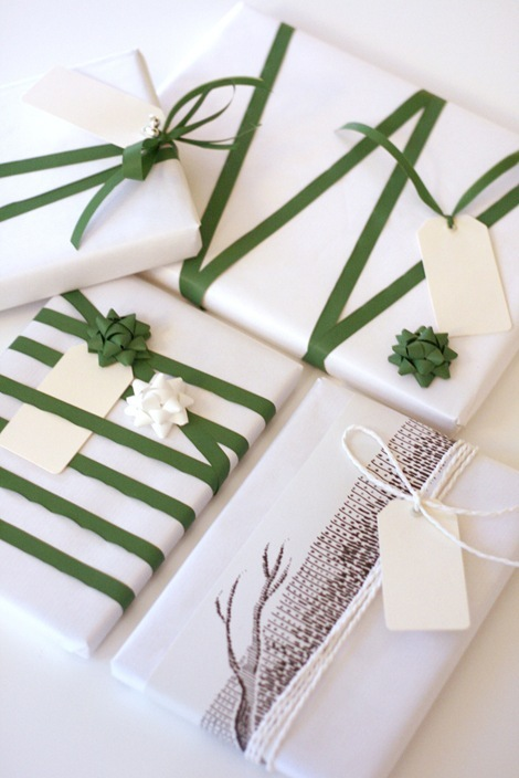 A small collection of my favorite gift wrapping ideas including this gorgeous green ribbon by Chez Larsson.