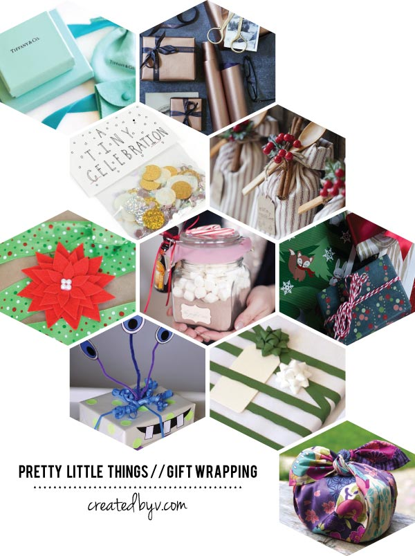 A small collection of gift wrapping inspiration because I adore a pretty package.