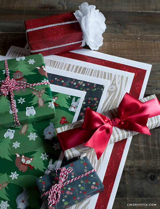 A small collection of my favorite gift wrapping ideas including this printable holiday gift wrap by Lia Griffith.