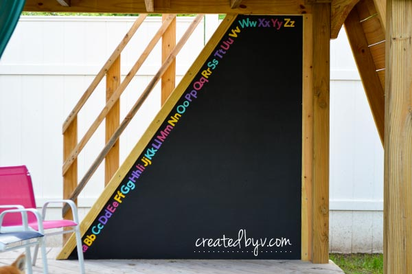 Outdoor Chalkboard // technical improvements and fun upgrades to our backyard wooden playset