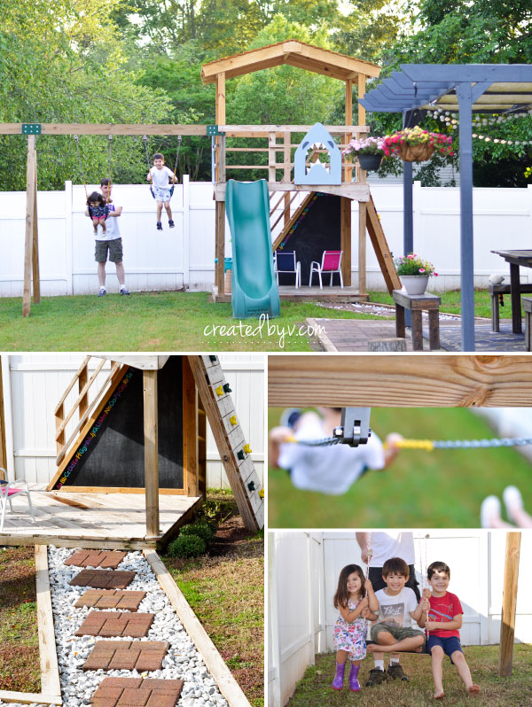 Additional details, photos and resources on how we built our backyard wooden playset