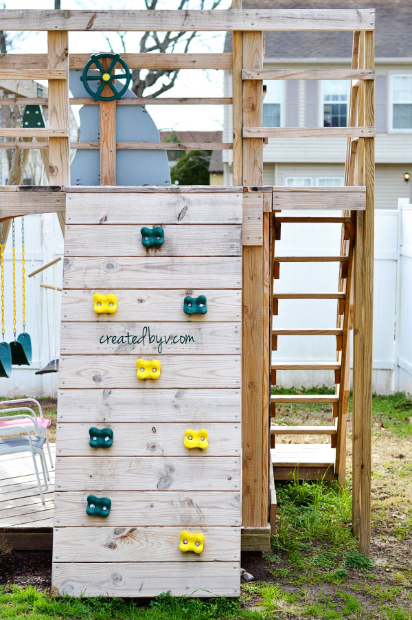 Rock Wall // additional details, photos and resources on how we built our backyard wooden playset