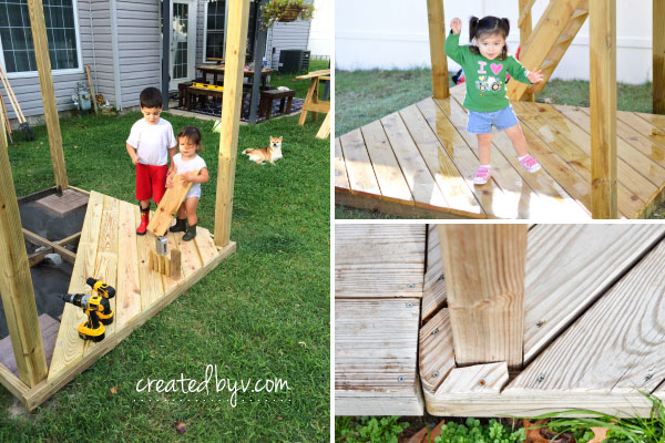 Lower and Upper Decks // additional details, photos and resources on how we built our backyard wooden playset
