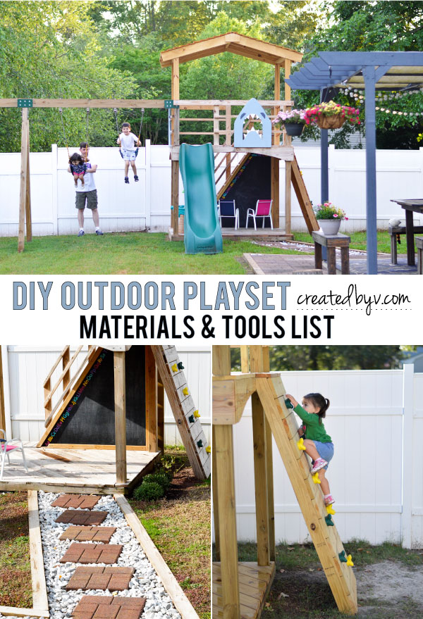 Get the materials and tools list along with additional details and photos for the building of our DIY Outdoor Playset in our backyard.