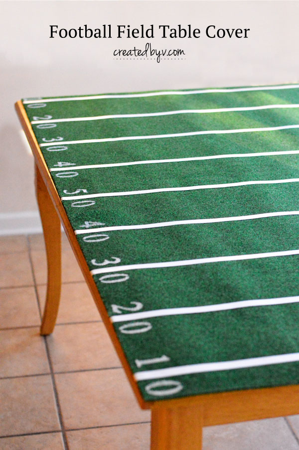 Football Field Table Cover // made from an indoor/outdoor rug, this table