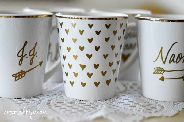 Personalized Party Favors // gold-rimmed mugs + gold sharpie