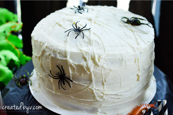 Creepy Crawly Checkerboard Cake // Check out this frightfully fun birthday party inspired by Tim Burton's movie, The Nightmare Before Christmas.