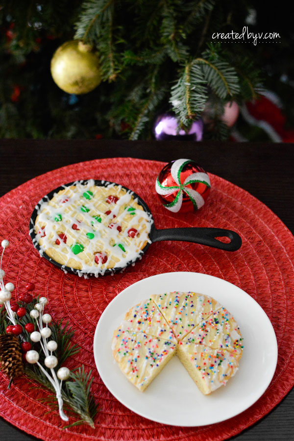 Get on the Nice List with these Skillet Sugar Cookies! They're a delightful spin on the traditional sugar cookie by baking in a cast iron skillet.