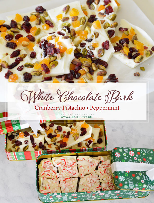 White chocolate bark is an easy, versatile treat for the holidays. I'll show you two ways to make it: a cranberry pistachio and peppermint bark.