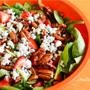 A favorite for dinner parties and steak night! This salad is a taste sensation featuring sweet strawberries, fragrant bleu cheese and sweet and spicy pecans.