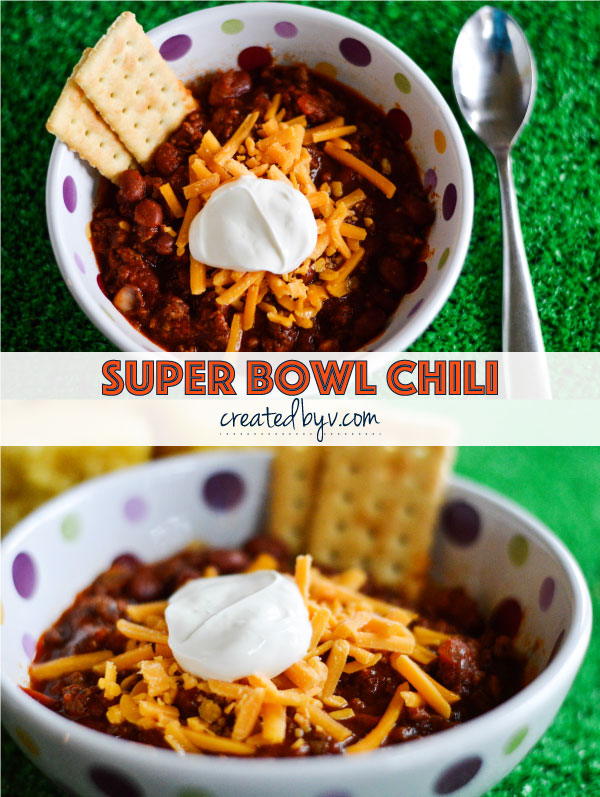 If you're still working out a game plan for Sunday, try one of my favorite Super Bowl traditions and make this delicious chili to enjoy with the big game!