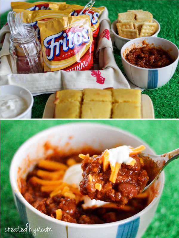 As a bonus, whip up some Fritos Chili Pies! Just add a couple spoonfuls of chili and choice toppings to snack bags of Fritos Corn Chips for some fun {and delicious} game-day fare!