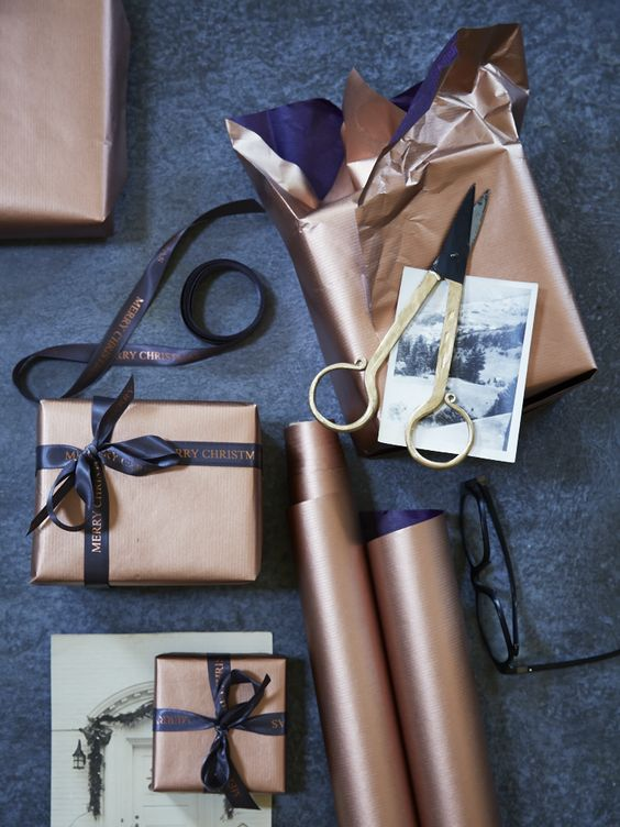 A small collection of my favorite gift wrapping ideas including this copper wrapping paper by Cox & Cox.
