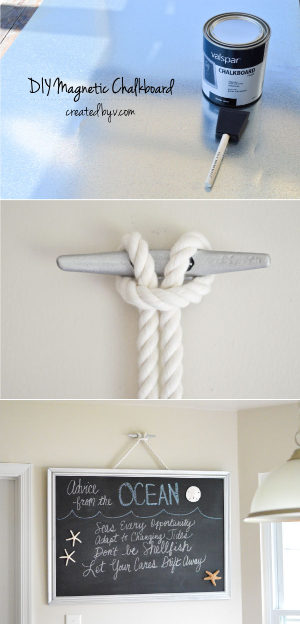 A fun and thrifty way to display your favorite magnets and share words of wisdom. The boat cleat and rope add a nautical touch to the decor. {Go Navy!}
