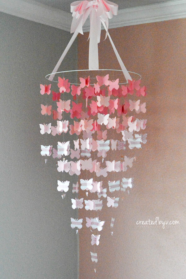 This beautiful pink ombre butterfly mobile is the perfect touch of whimsy for a sweet little girl's room.