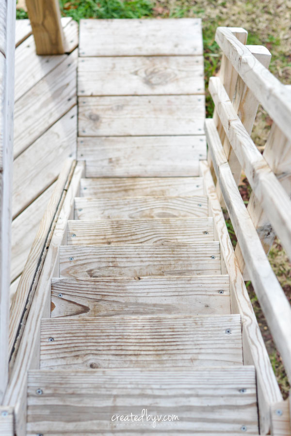 Stairs // additional details, photos and resources on how we built our backyard wooden playset