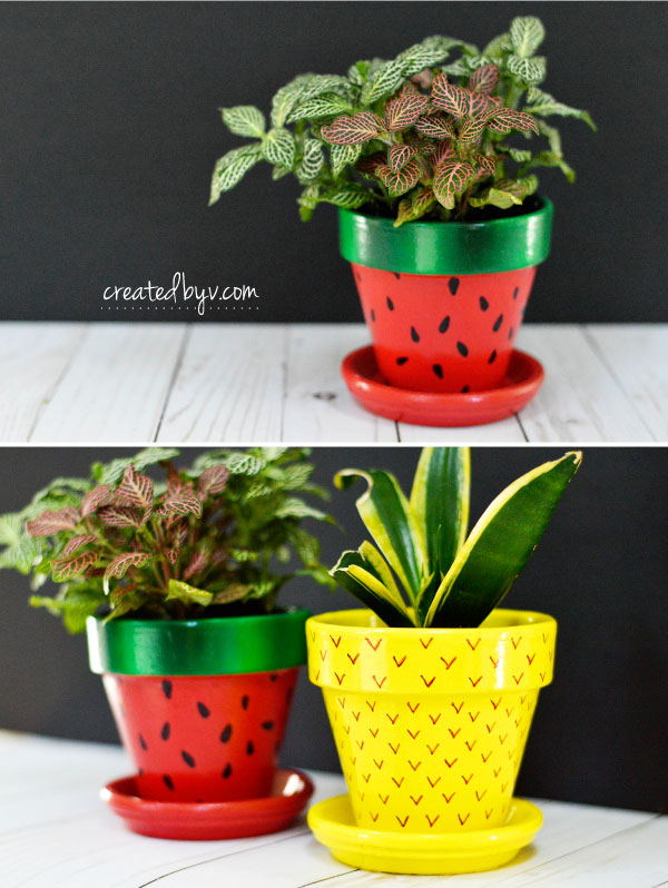 Fruit-Inspired Terra Cotta Pots // inexpensive and readily available, terra cotta pots make excellent canvases for these fun and fruity diy planters