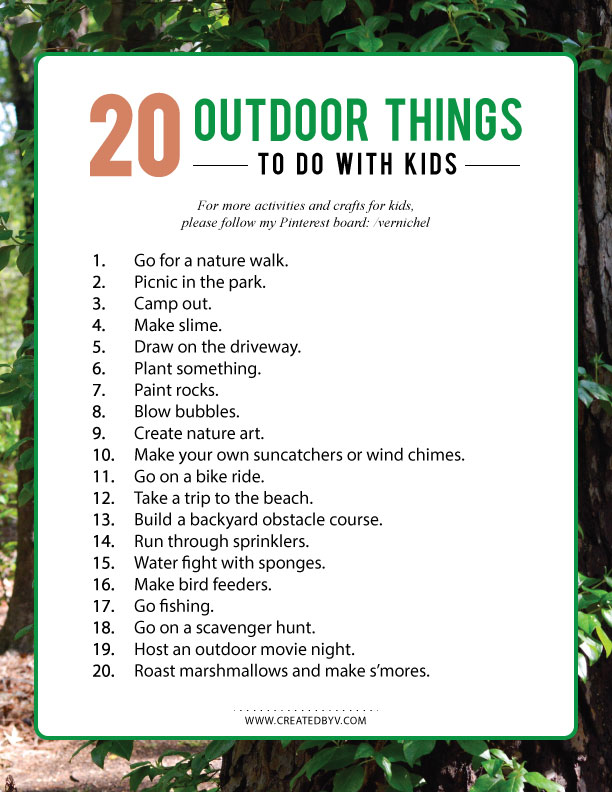 20 outdoor things to do with kids this summer created by v. Black Bedroom Furniture Sets. Home Design Ideas
