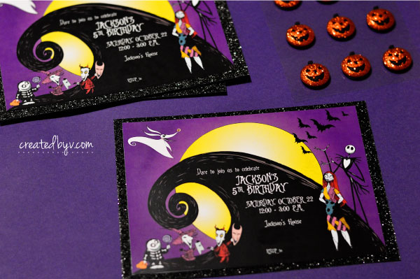 Invitations // Check out this frightfully fun birthday party inspired by Tim Burton's movie, The Nightmare Before Christmas.
