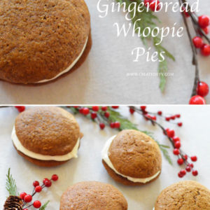 Gingerbread Whoopie Pies // perfect for parties or packaged up as gifts! Gingerbread + Cream Cheese Frosting = Heaven