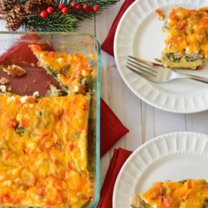 A savory make-ahead breakfast casserole featuring fresh ingredients so you can sleep in or focus on the things that matter most!