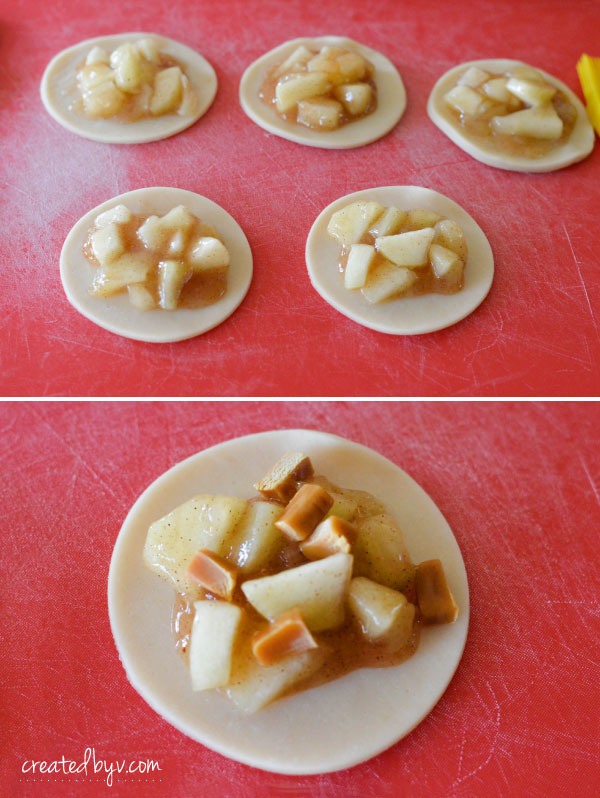 Mini Caramel Apple Pies with homemade apple filling and store-bought pie crust. Easy + Delicious!